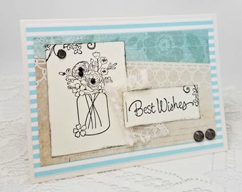 Best Wishes Card - Wedding Card - Turquoise Wedding Card - Mixed Media Wedding Card - Mixed Media Card - Blank Wedding Card - Lace Card