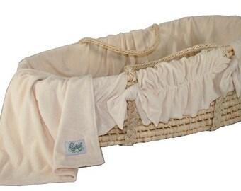 Moses Basket with Organic Cotton Velour Bedding Set