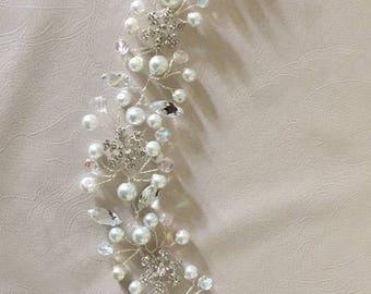 Snowflake pearl and crystal hair vine