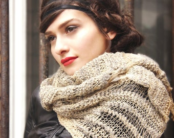 unique scarf - winter trends - avantgarde scarf - linen scarf - winter scarf - knitted scarf - linen