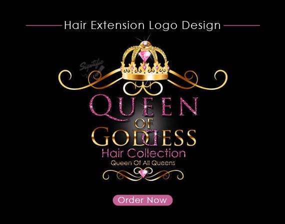 Custom Hair Extensions Business Logo, Crown and Diamond Logo, Glitter Pink and Shiny Gold Logo, Bling Logo, Hair Logo, Hair Collection Logo