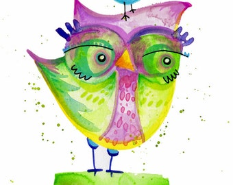 Owl Art original purple and green cute bird watercolor illustration