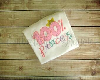 100% Princess Applique  T-shirt or Onesie Bodysuit for Girls