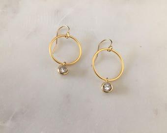 Moderne Gold-Kreis Ohrringe - 14K Gold gefüllt