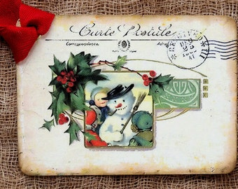 Kids Building A Snowman French Postcard Gift or Scrapbook Tags or Magnet #14