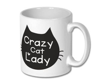 Crazy cat lady Mug, Cat Lover Mug, Cat Mug, Cat Lover Gift, Cat mom Gift, Crazy Cat Lady, Cat Mug, Cat Gift, Personalize Mug, Black Cat