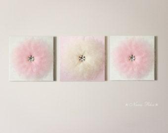 "Ballerina Decor Pink and Ivory Flower Wall Decor Nursery Decor Canvas Flower Wall Art Shabby Nursery Shabby Decor 12X12"" Set of THREE"