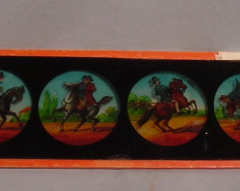 Glass Slide Featuring Men on Horses Horseback 4 Views Magic Lantern?