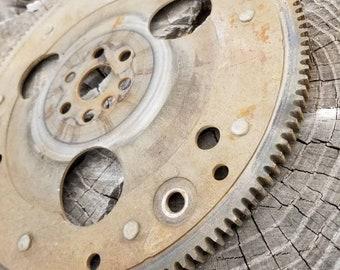 """12"""" Rusty metal gear, steam punk gears, gears for wall art craft, sculpture metal, steampunk sculpture supplies, scrap metal, sprocket, cog"""