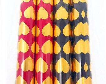 The Wrap it. Metallic Premium Gift Wrapping Paper-11.5 Sq Ft Each Roll-(4 Roll/Pack) (Black&Red Valentine's)