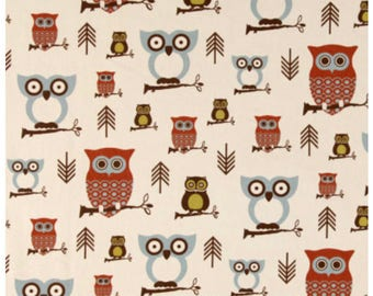 Hooty Owl Village tan rust and blue curtain  Valance