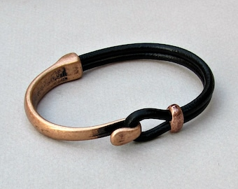 Mens Bracelet Leather, Leather Bracelet, Black Brown Leather Mens Bracelet, Antique Copper Oxidation Customized On Your Wrist