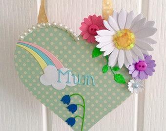 Mum heart hanger
