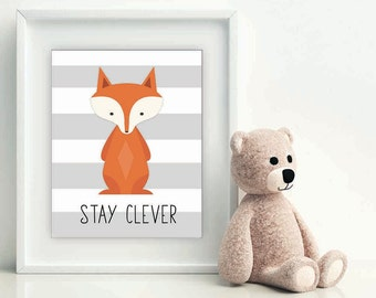 Stay Clever Little Fox, Christmas gift baby, nursery art, woodland nursery, nursery print, nursery decor, fox wall art, fox printable