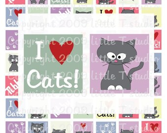 1 inch Square ORIGINAL -- NO CLIP ART -- Scrabble or Glass Tile Digital Collage Sheet PDF or JPEG --- Tibby The Little Grey Cat