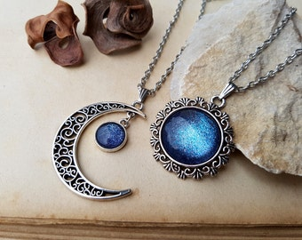 2 Sun and Moon Necklaces | friendship necklaces | best friends jewelry | sisters necklaces | sun and moon jewelry | moon necklace | Galaxy