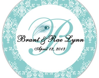 Peacock Monogram Personalized with Damask Border Glossy 2 Inch Round Wedding Stickers Favor Labels