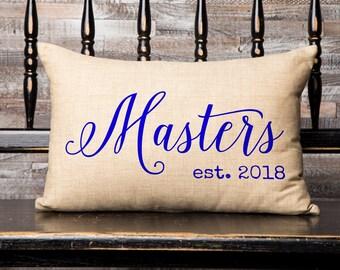 Personalized Last Name & Est. Date, 100% Cotton Burlap Print Pillow, Wedding Gift, Engagement Gift, Anniversary Gift, SPS-006_Burlap Print