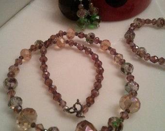 Handmade Beaded Necklace Set  - Beaded Glass Earrings - Handcrafted Earrings set - Purple Flowers - Purple Bracelet - Purple Crystal Beads