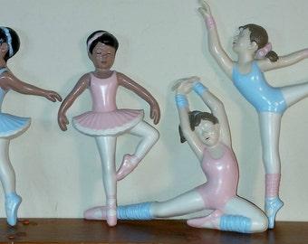 Burwood Ballerinas Vintage Set of 4 Nursery or Child's Room Wall Decor