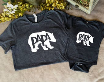 Papa Bear shirt and Baby Bear shirt, matching shirts, Father's Day, Mother's Day, Baby shower, birthday