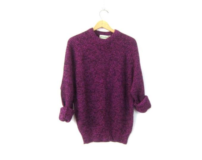 Slouchy Sweater 90s Purple Black Marled Knit Boyfriend Sweater Retro Raglan Sleeve Pullover Vintage Mens Size Large