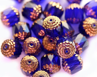 10mm Cobalt blue cathedral beads, czech glass with golden ends, large round ball beads - 10pc - 2987