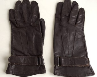 """80s Brown Shorties Kid Gloves Size 6-6.5 Length 8.75"""""""