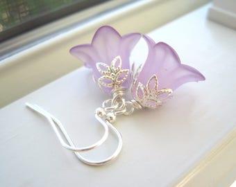 Purple Flower Earrings - Pastel Jewelry - Lucite Flower Jewelry - Light Purple Earrings -  Bluebell Earrings - Spring Jewelry