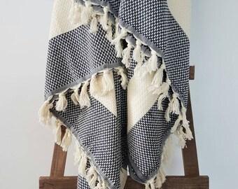 Woven Plaid blanket - Black Blanket -  Navy Blue Bedspread - Bohemian Bedroom - King size bedding - 100% Cotton bed cover - Fringed blanket