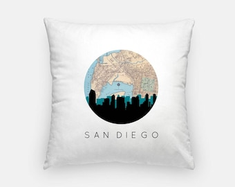 San Diego pillow | San Diego Skyline Map Pillow | California pillow | downtown San Diego home decor | throw pillow | city skyline pillow