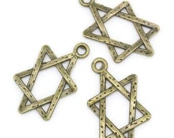 10 charms/pendants great Hexagram metal bronze