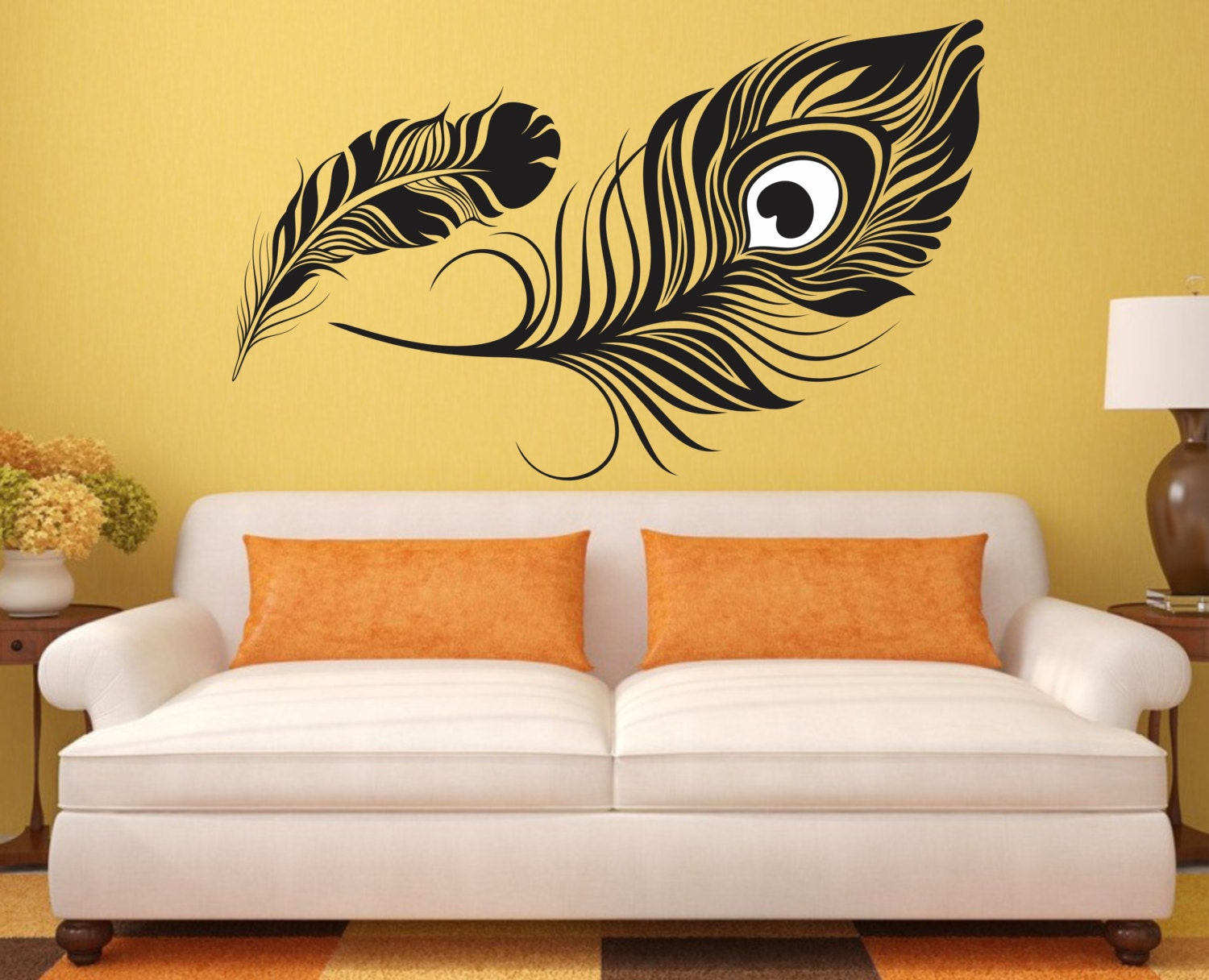 Feather Wall Decal peacock feather Vinyl Sticker Decals Art