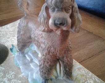 Ceramic brown poodle.....vintage.....good condition