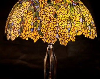 Stained Glass Table Lamp, Laburnum Tiffany, Stained Glass Shade, Lamp, Lampshade, Lamp Desk, Table Lamp, Bedside Lamp, Stained Glass