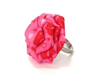 Pink Hearts Rose Ring