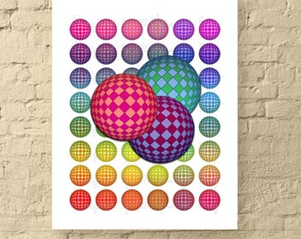Rainbow Checkered 3D Spheres / 1 Inch Round Abstract Digital Collage Sheet / Bottle Cap Images //  Printable, Instant Download!