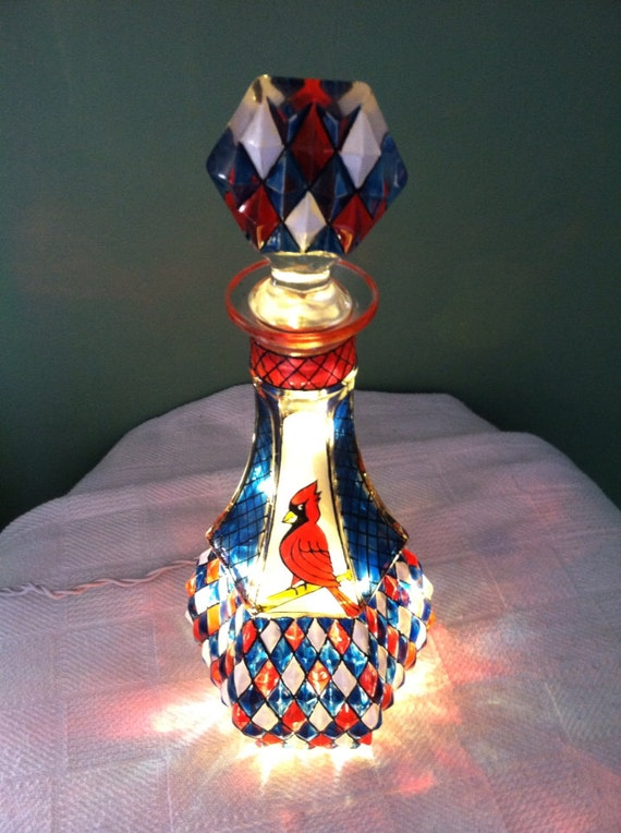 St.Louis Cardinals Hand Painted Stained Glass Lamp