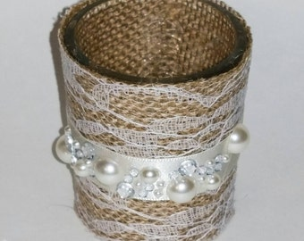 Wedding votive candle holders with rhinestone clusters (6)/rustic candle holders