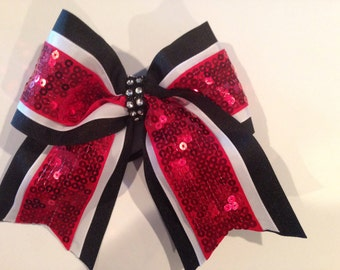 Black, white & red sequin cheer bow