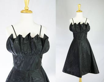 Vintage 1980's 50's Style Black Party Prom Dress Bombshell Petal Bust Full Skirt ON SALE!