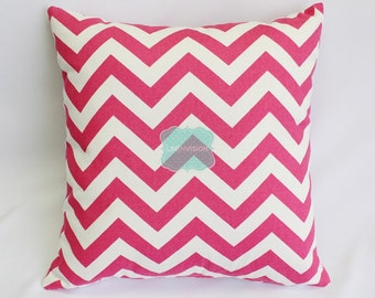 Pillow Cover - Premier Prints - ZIG ZAG - Candy Pink Fuchsia White - Home Decor Sofa Throw Pillow-Cover with Zipper Enclosure - All Sizes