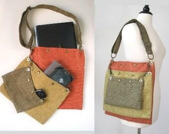 womens messenger bag, book bag, school bag, carry on tote, laptop messenger bag, travel bag, everyday purse, fabric handbag