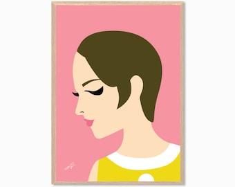 SIXTIES | Twiggy Poster : Fashion Modern Illustration Retro Art Wall Decor Print