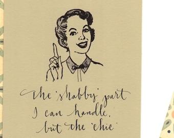 carte de voeux Vintage femme au foyer humoristique