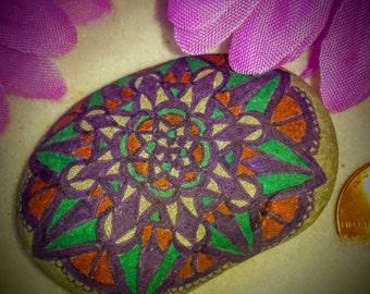 Mandala Stone, Mandala Rock, Hand Drawn, Pen Drawing on Natural Stone, Matte Multicolor, Home and Indoor Garden, Zen, Meditative Art