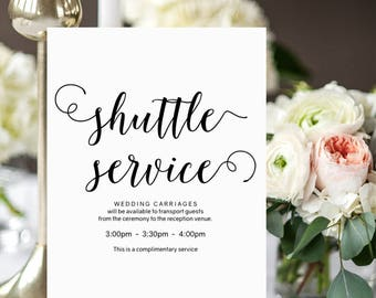 "Shuttle service sign, wedding carriages sign, printable shuttle service sign for your wedding guests. 8x10"". PDF. Edit in Acrobat Reader."