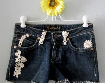 Daisy Dukes, Denim Shorts, Rave Shorts, Short Shorts, Marciano Shorts, Handmade Shorts, Lace Shorts, Blue Jean Shorts, Upcycled Clothing