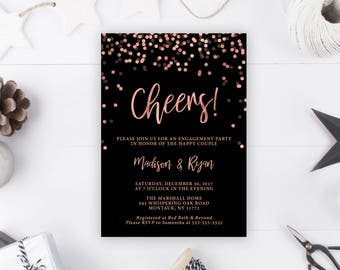 Engagement Party Invitation, Engagement Party Invitation Rose Gold, Engagement Party Invitation Cheers, Winter Engagement Party Invite [699]