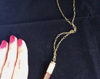 Pink/Amber Crystal Bullet Shell Necklace